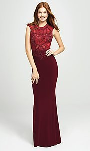 Image of embellished-illusion-bodice long prom dress. Style: NM-19-121 Detail Image 3