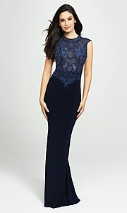 Image of embellished-illusion-bodice long prom dress. Style: NM-19-121 Front Image