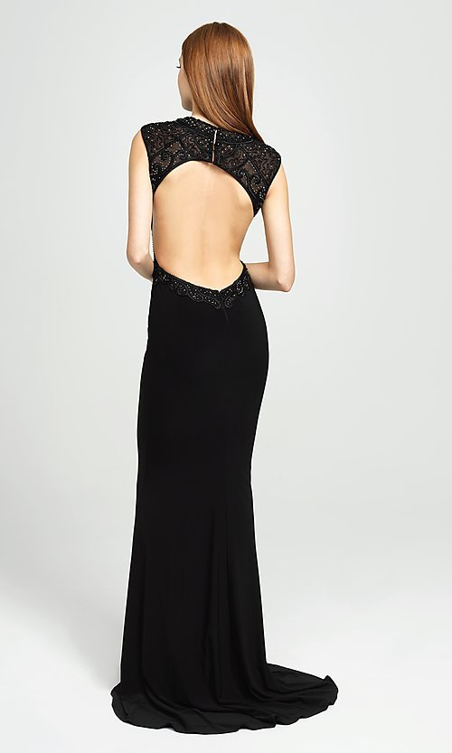 Image of embellished-illusion-bodice long prom dress. Style: NM-19-121 Back Image