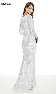 Image of long-sleeve Alyce long formal prom dress. Style: AL-27359 Back Image