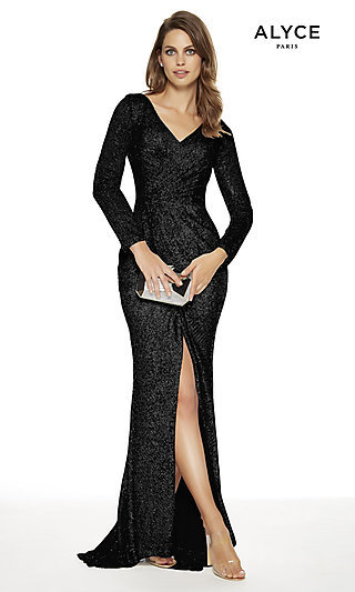 Long Sequin V-Neck Prom Dress with Sleeves