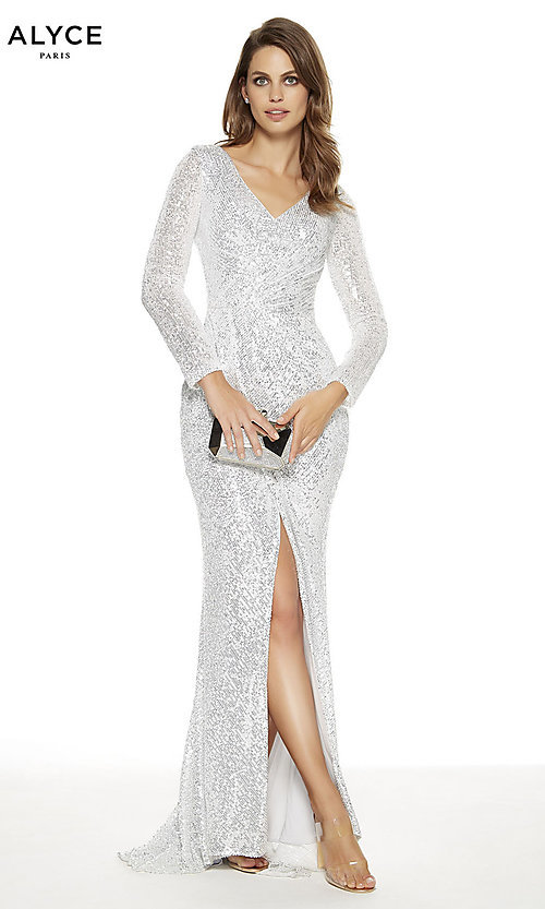 Image of long-sleeve Alyce long formal prom dress. Style: AL-27359 Detail Image 1