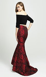Image of off-the-shoulder two-piece mermaid prom dress. Style: NM-19-126 Back Image