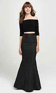 Image of off-the-shoulder two-piece mermaid prom dress. Style: NM-19-126 Detail Image 2