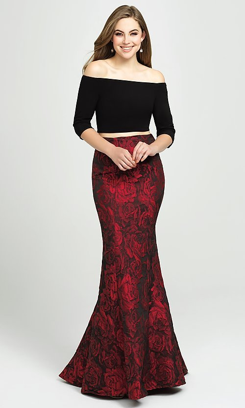 Image of off-the-shoulder two-piece mermaid prom dress. Style: NM-19-126 Detail Image 1