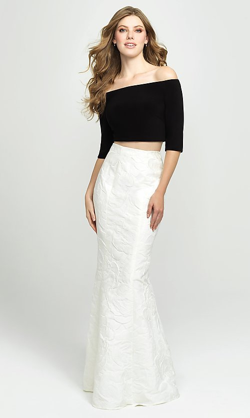 Image of off-the-shoulder two-piece mermaid prom dress. Style: NM-19-126 Front Image