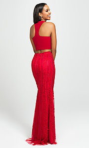 Image of long two-piece formal prom dress with beaded skirt. Style: NM-19-141 Back Image