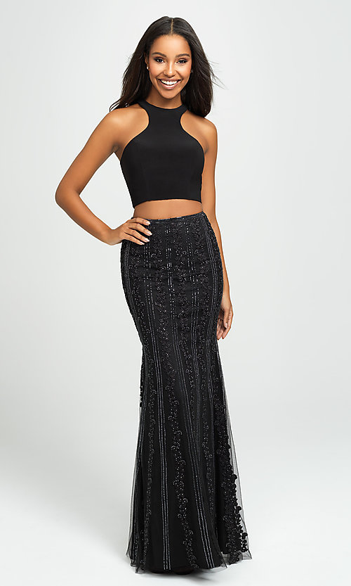 Image of long two-piece formal prom dress with beaded skirt. Style: NM-19-141 Detail Image 1
