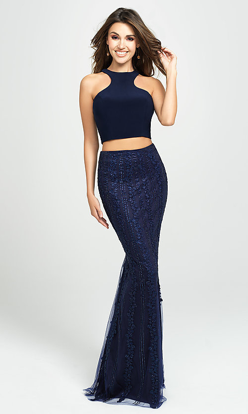 Image of long two-piece formal prom dress with beaded skirt. Style: NM-19-141 Detail Image 2