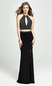 Image of embellished-crop-top two-piece long prom dress. Style: NM-19-143 Front Image