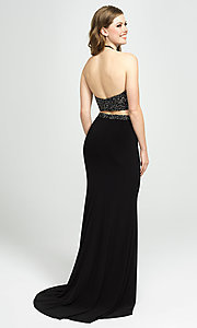 Image of embellished-crop-top two-piece long prom dress. Style: NM-19-143 Back Image