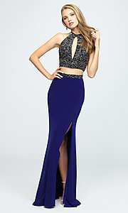 Image of embellished-crop-top two-piece long prom dress. Style: NM-19-143 Detail Image 1