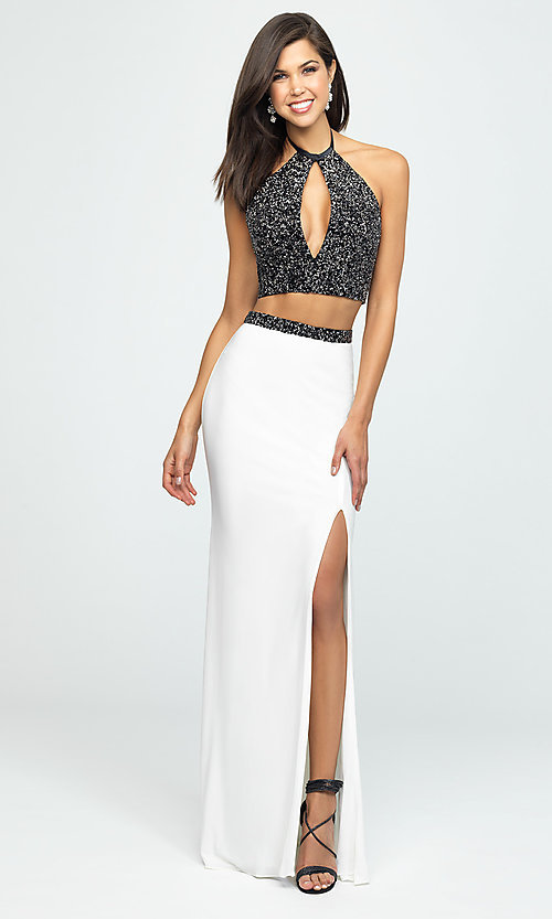 Image of embellished-crop-top two-piece long prom dress. Style: NM-19-143 Detail Image 2