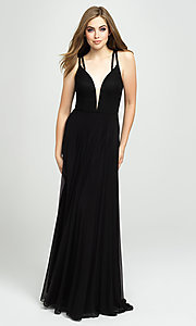 Image of long formal prom gown with plunging v-neckline. Style: NM-19-152 Detail Image 2