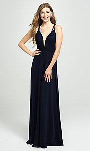 Image of long formal prom gown with plunging v-neckline. Style: NM-19-152 Front Image