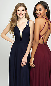 Image of long formal prom gown with plunging v-neckline. Style: NM-19-152 Detail Image 1