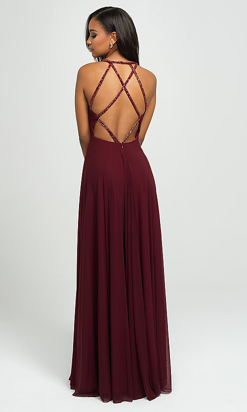 Image of long formal prom gown with plunging v-neckline. Style: NM-19-152 Back Image