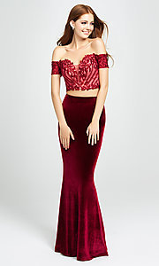 Image of velvet mermaid two-piece long prom dress. Style: NM-19-157 Detail Image 2