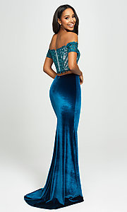 Image of velvet mermaid two-piece long prom dress. Style: NM-19-157 Back Image