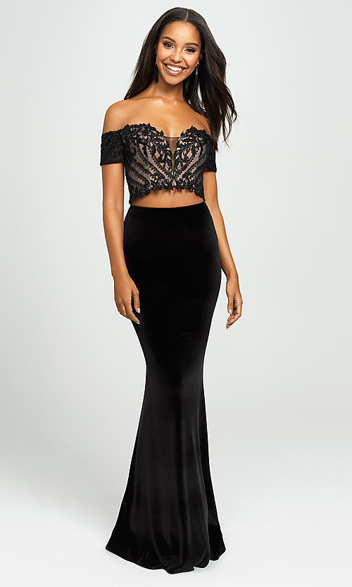 Image of velvet mermaid two-piece long prom dress. Style: NM-19-157 Detail Image 3