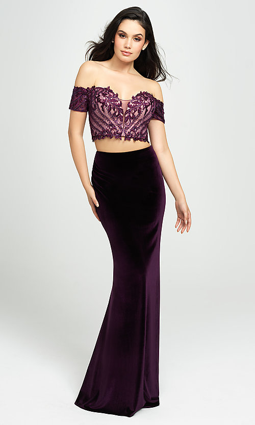 Image of velvet mermaid two-piece long prom dress. Style: NM-19-157 Front Image
