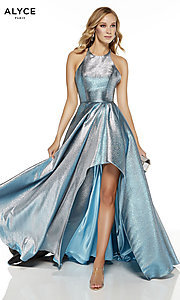 Image of silver iridescent high-low Alyce prom dress. Style: AL-60714 Front Image