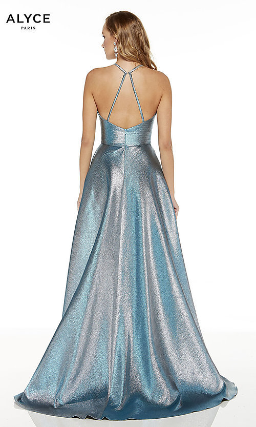 Image of silver iridescent high-low Alyce prom dress. Style: AL-60714 Back Image
