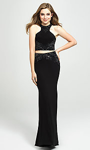 Image of two-piece long racerback prom dress with beading. Style: NM-19-165 Detail Image 1