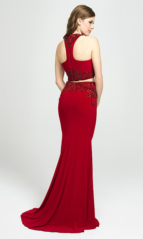 Image of two-piece long racerback prom dress with beading. Style: NM-19-165 Back Image