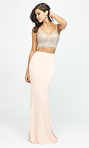 Image of long two-piece prom dress with corset crop top. Style: NM-19-167 Detail Image 2