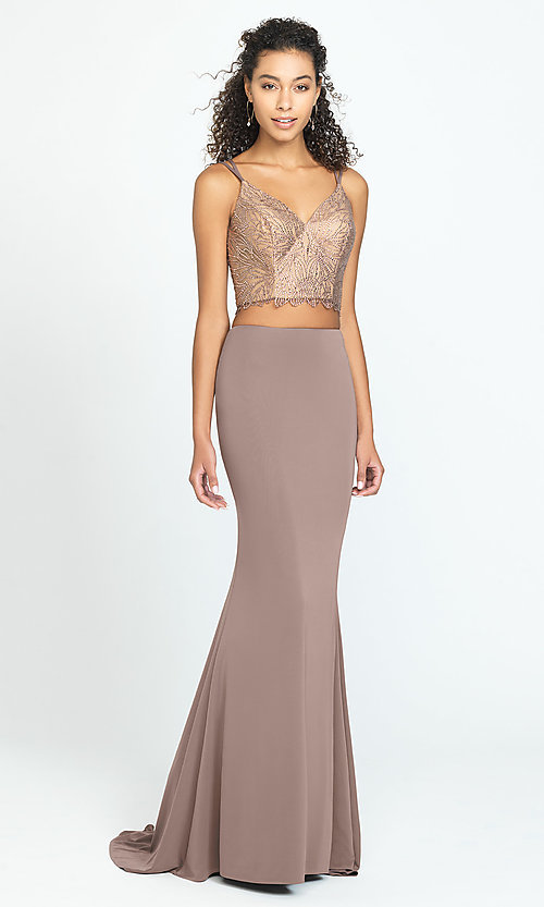 Image of long two-piece prom dress with corset crop top. Style: NM-19-167 Front Image
