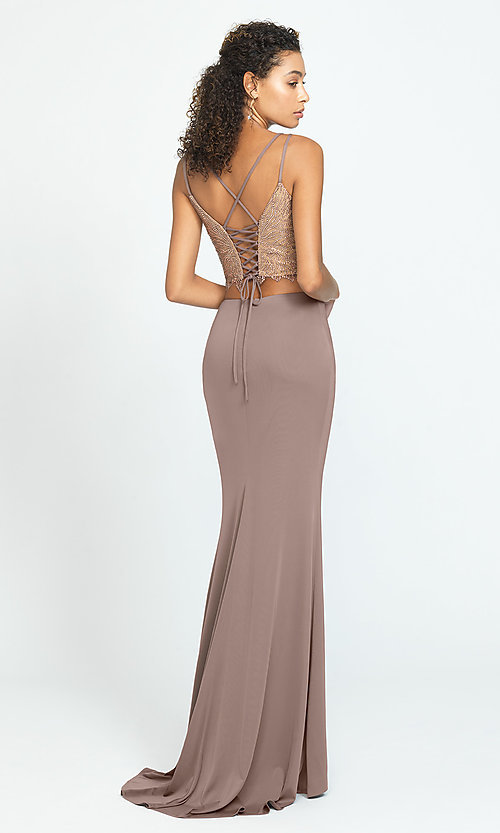 Image of long two-piece prom dress with corset crop top. Style: NM-19-167 Back Image