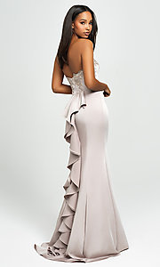 Image of strapless long mermaid prom dress with ruffle. Style: NM-19-172 Front Image