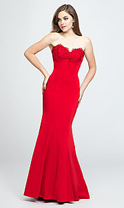 Image of strapless long mermaid prom dress with ruffle. Style: NM-19-172 Detail Image 4