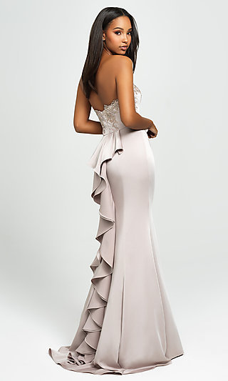 Strapless Long Mermaid Prom Dress with Ruffle