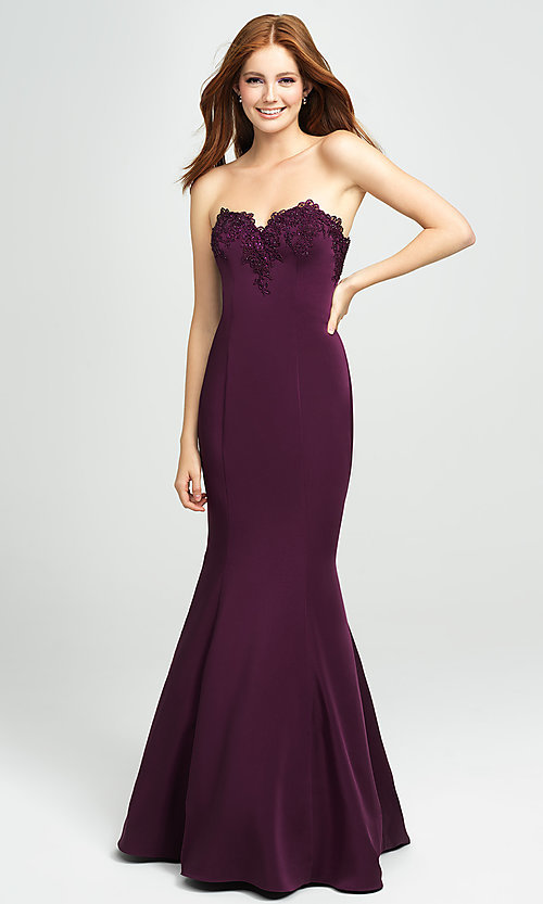 Image of strapless long mermaid prom dress with ruffle. Style: NM-19-172 Detail Image 2