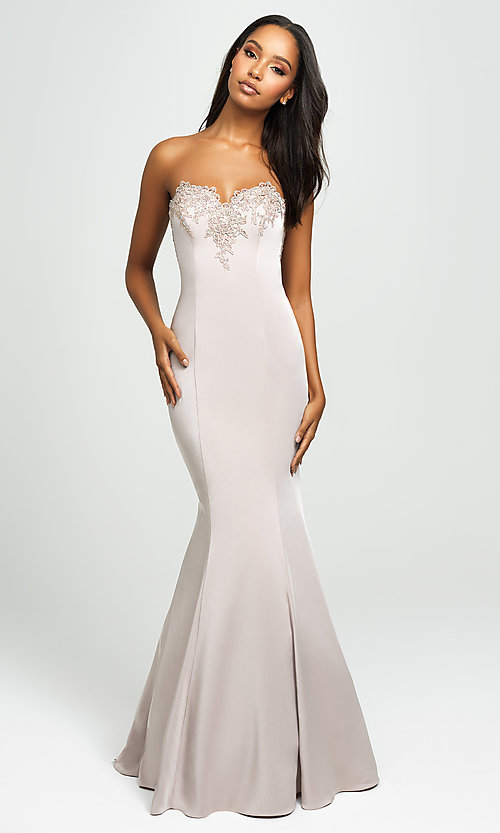 Image of strapless long mermaid prom dress with ruffle. Style: NM-19-172 Back Image