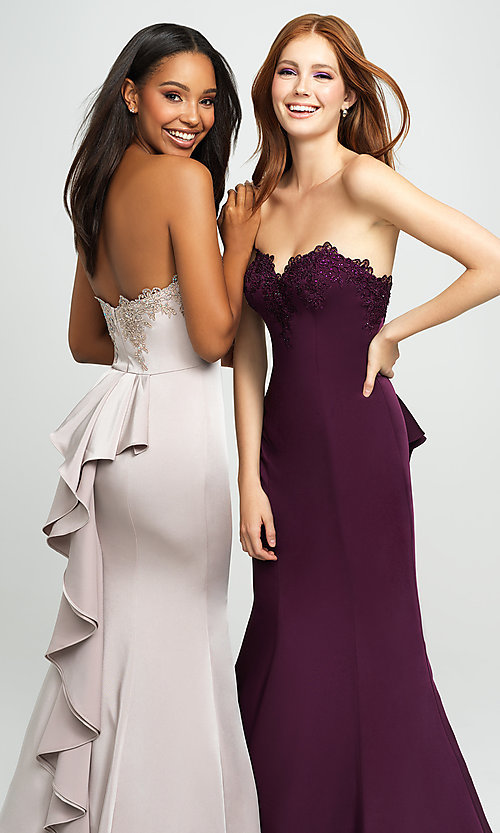 Image of strapless long mermaid prom dress with ruffle. Style: NM-19-172 Detail Image 1