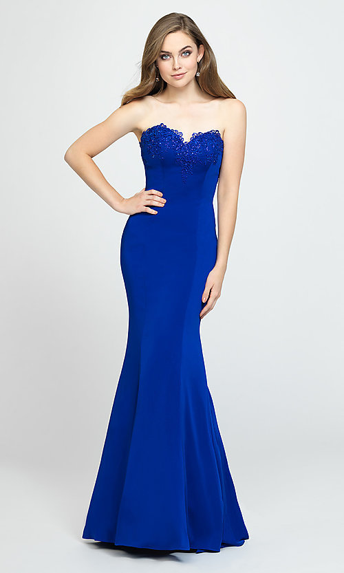 Image of strapless long mermaid prom dress with ruffle. Style: NM-19-172 Detail Image 5