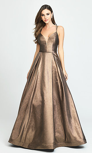 V-Neck Prom Ball Gown by Madison James