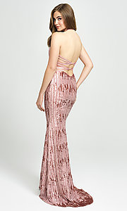 Image of sequin high-neck halter formal evening gown. Style: NM-19-179 Back Image