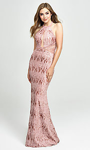 Image of sequin high-neck halter formal evening gown. Style: NM-19-179 Detail Image 1