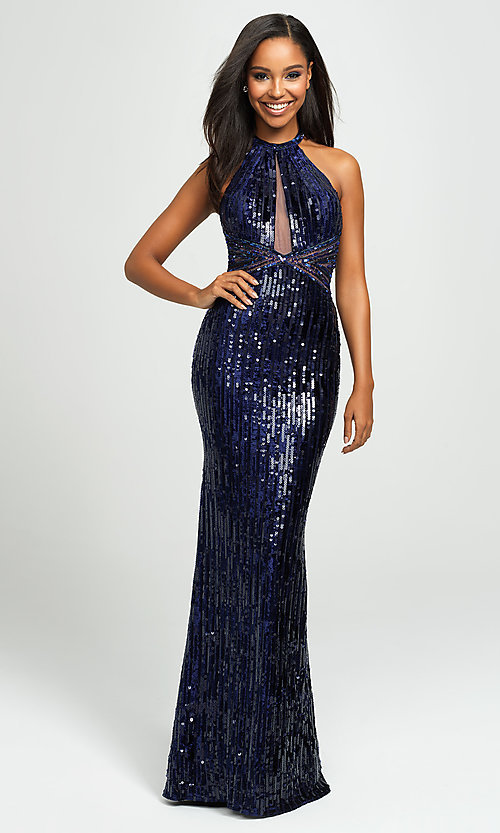 Image of sequin high-neck halter formal evening gown. Style: NM-19-179 Front Image