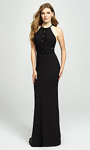 Image of corset-back long formal prom dress with cut outs. Style: NM-19-184 Back Image