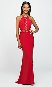 Image of corset-back long formal prom dress with cut outs. Style: NM-19-184 Detail Image 1