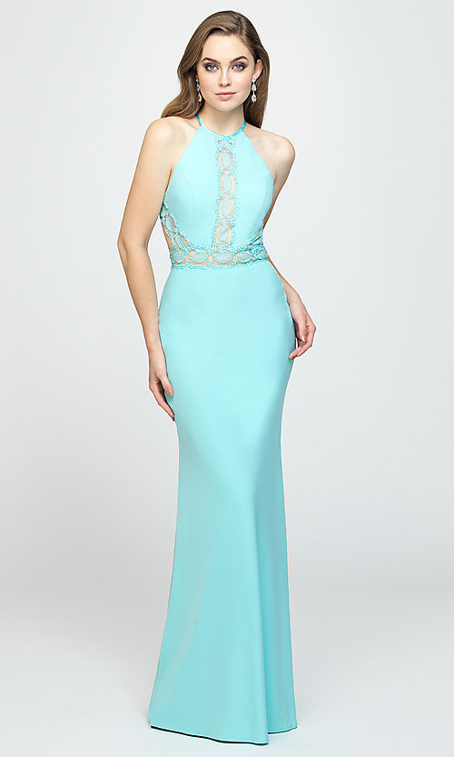 Image of corset-back long formal prom dress with cut outs. Style: NM-19-184 Detail Image 2