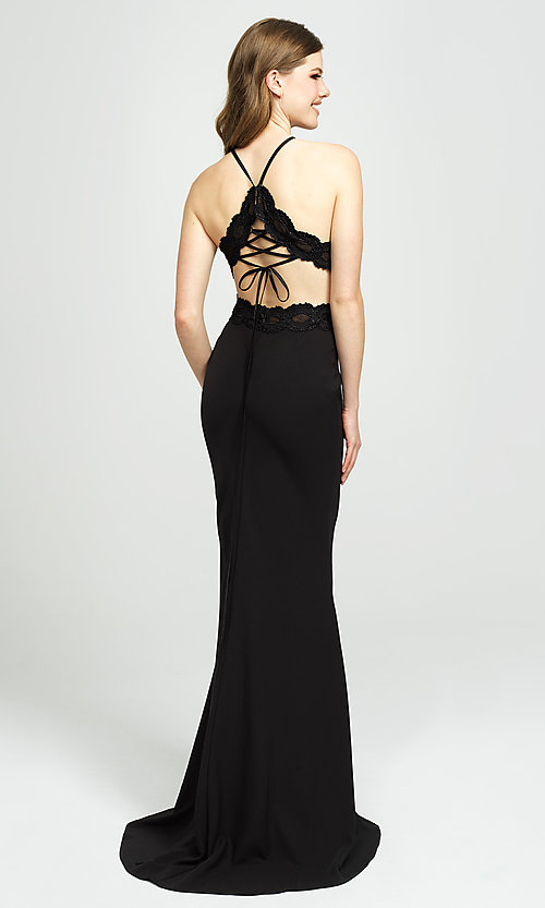 Image of corset-back long formal prom dress with cut outs. Style: NM-19-184 Front Image