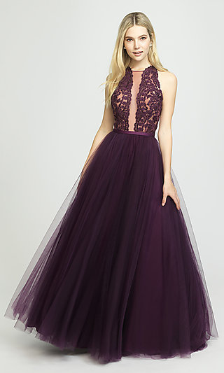Long A-Line Halter Prom Dress by Madison James