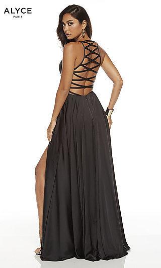 Faux-Wrap Long Caged Back Prom Dress by Alyce