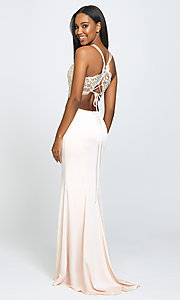 Image of Madison James long two-piece formal prom dress. Style: NM-19-201 Back Image